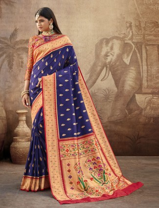 Banarasi paithani silk wedding wear saree in navy