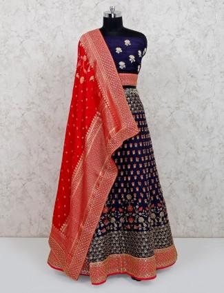 Banarasi silk wedding wear navy lehenga choli