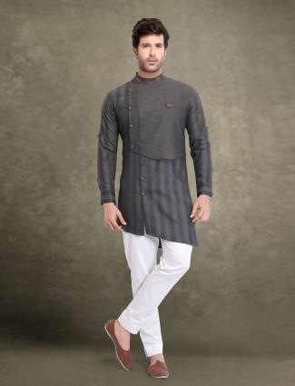 Bandhgala style stripe grey cotton kurta suit