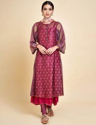 Beautiful maroon festive double layer salwar suit