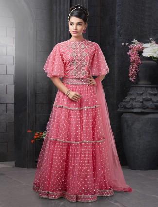 Beautiful pink net lehenga choli for wedding functions