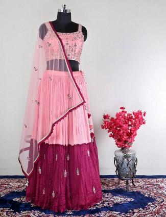Beautiful pink raw silk lehenga choli for wedding