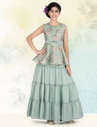 Beautiful pista green silk lehenga choli for girls