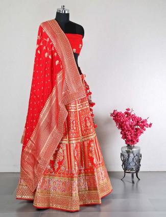Beautiful red silk unstitched lehenga choli for wedding