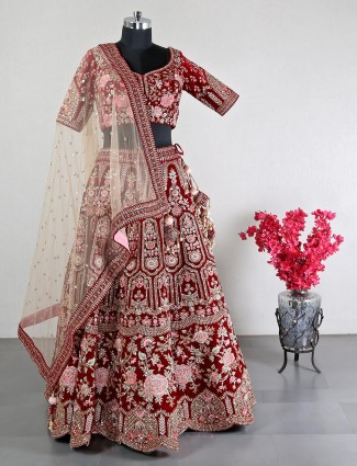 Beautiful wedding wear maroon velvet lehenga choli
