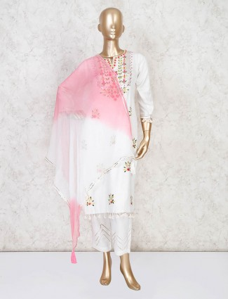 Beautiful white pant suit with shaded dupatta
