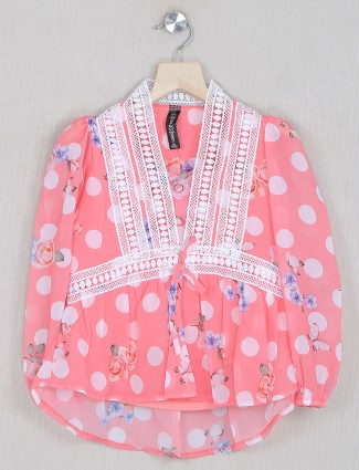 Bee & Honey pink georgette casual top for girls