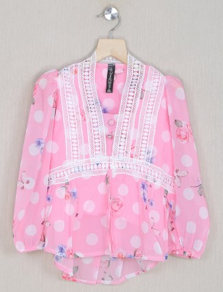 Bee & Honey pink printed style casual top for girls
