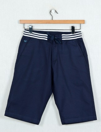 Beevee slim fit cotton navy shorts
