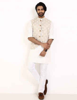 Beige and cream thread waistcoat set for party