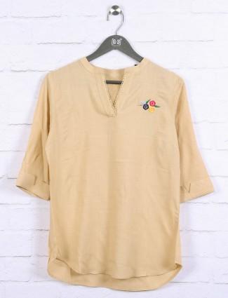 Beige color cotton casual top