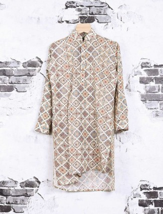 Beige color printed pathani suit