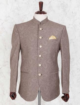 Beige color printed pattern party wear jodhouri blazer