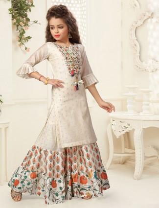 Beige cotton punjabi salwar suit