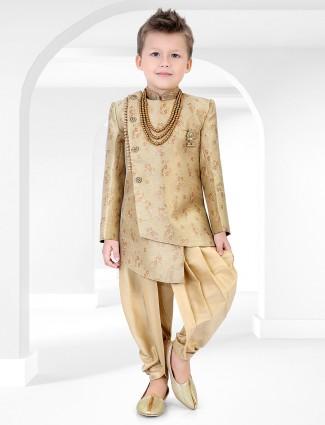 Beige cotton silk wedding wear boys indo western