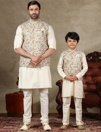 Beige father and son concept waistcoat set in cotton
