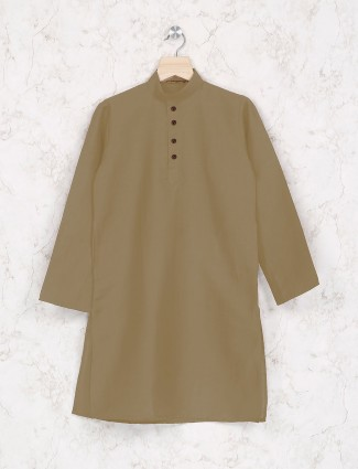 Beige hue boys cotton fabric kurta suit