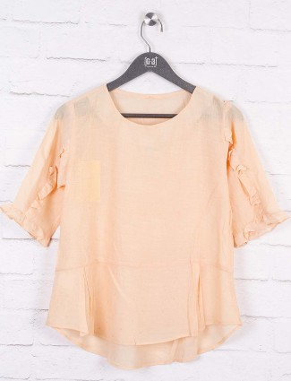 Beige hue colored cotton casual wear top