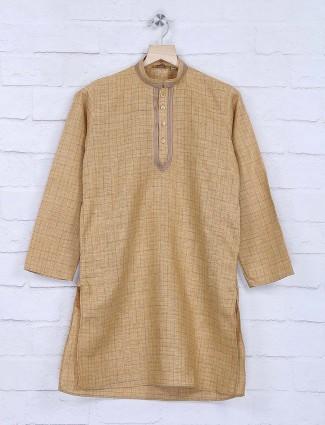 Beige hue cotton fabric checks kurta suit