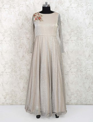 Beige hue party gown in chiffon