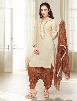 Beige hue printed cotton dhoti suit