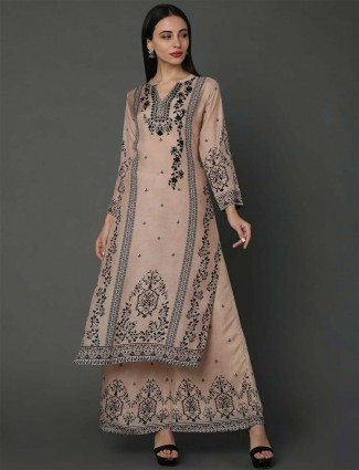 Beige hue printed pure musleen cotton palazzo style suit