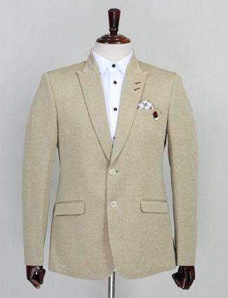 Beige jute solid party wear blazer