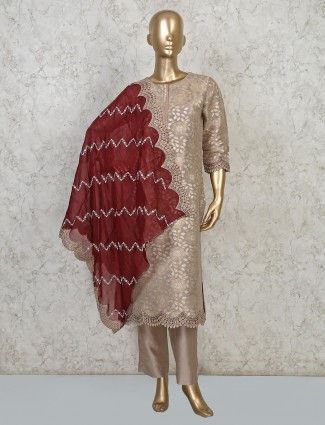 Beige palazzo set in cotton silk special for festive days