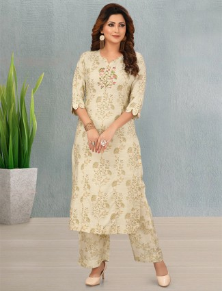Beige printed cotton punjabi style palazzo suit for women