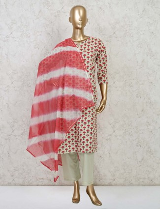 Beige printed festive wear kurti set