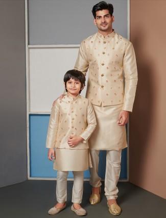 Beige raw silk party function waistcoat set