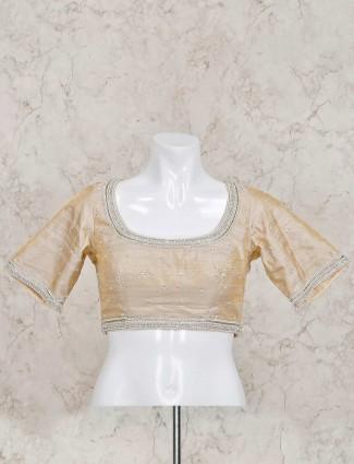 Beige raw silk ready made beautiful blouse