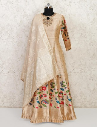 Beige raw silk wedding wear anarkali suit