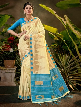 Beige silk saree for party function
