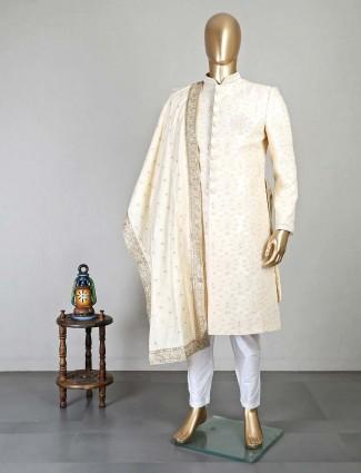 Beige silk sherwani for men