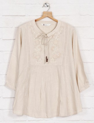 Beige solid quarter sleeve cotton top
