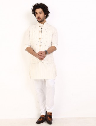 Beige stripe cotton linen waistcoat set