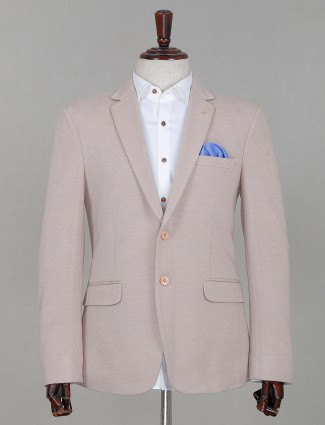 Beige terry rayon solid party blazer for men