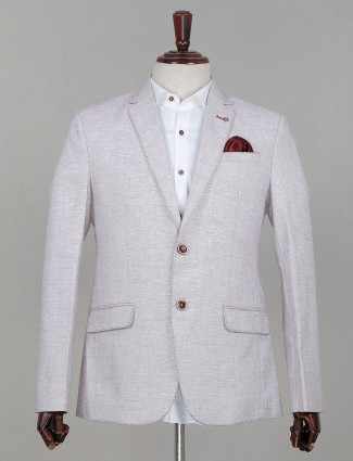 Beige terry rayon solid party wear mens blazer