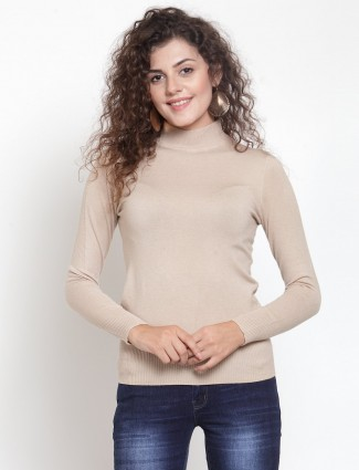 Beige turtleneck knitted casual top