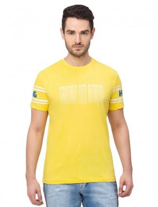 Being human yellow printed cotton t-shirt