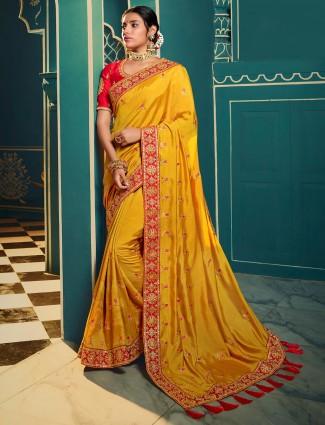 Bewitching gold satin saree
