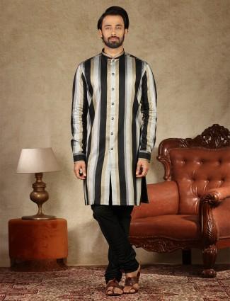 Black and gold stripe cotton silk fabric kurta suit for festive