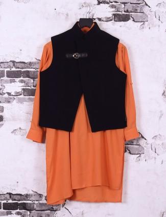 Black and orange color silk fabric waistcoat set for boys