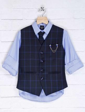 Black and sky blue cotton silk party waistcoat set