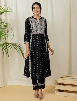 Black charming punjabi style printed cotton festive wear pant suit
