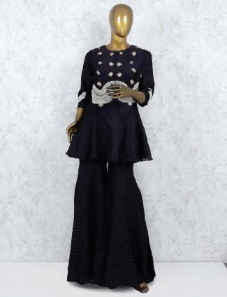Black color cotton silk punjabi sharara suit