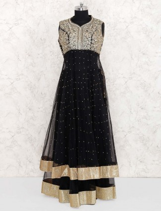 Black color net lehenga cum salwar suit