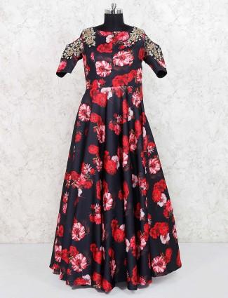 Black color satin gown