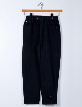 Black cotton casual pant for women